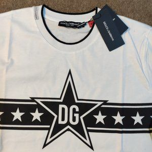Dolce Gabbana White Color Star Stripe T-Shirt